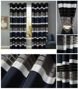 PAIR READY MADE CURTAINS STRIPED Black/ Grey/ White EYELET RING TOP