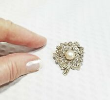 Vintage Pearl and Crystal Bouquet Bridal Brooch Pin