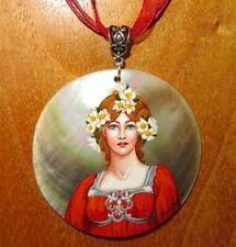 Pendant Elisabeth Sonrel Girl in Red Hand painted Shell Art Nouveau Illustration