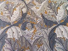 William Morris Curtain Fabric 'ACANTHUS' 2.25 METRES (225cm) Mustard/Grey Velvet