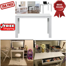 White Vanity Table Makeup Desk Drawer & Dressing Storage Modern Beauty Cosmetics