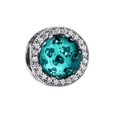 S925 Silver Charm Aqua Green Blue Radiant Hearts Crystal by Pandora's Angels
