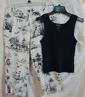 BRIGGS Size 14 White Navy Print Capri Pants Cotton Spandex Stretch w/ Finity Top