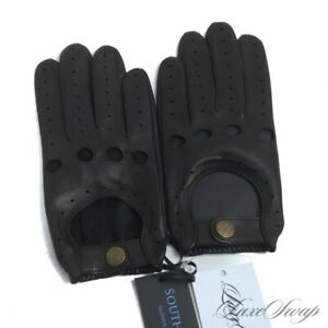 NWT Southcombe England Black Cooper Unlined Nappa Leather Driving Gloves S NR #6