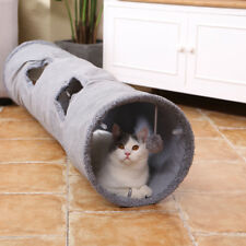 Pet Cat Kitten Tunnel Suede With Scratch Ball Holes Crinkle Fun Rabbit Play Toy Grey Length 130cm / Dia 30cm