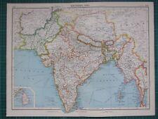 1952 Large Map ~ Southern Asia India Bhutan Assam Burma Andaman Îles
