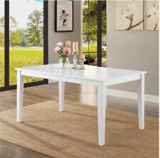 Breakfast Nook Dining Table White Kitchen Room Furniture Solid Wood Rectangular