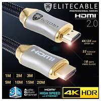 Cable HDMI 2.0 PRO 4K HDR UHD High Speed Ethernet 3D ARC Nylon Tressé Lecteur Bl