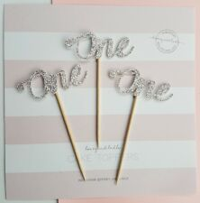 12x ONE Cupcake Toppers Silver Glitter, first birthday, number 1, 1st cake, baby