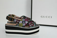 New sz 5 / 35 Gucci Layered Platform Espadrille Crossover Logo Wedge Sandal Shoe