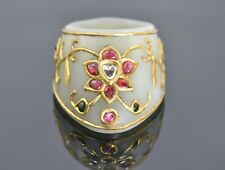 A fine Mughal style jade Archer's Thumb Ring