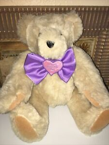 """VERMONT TEDDY BEAR CO Vintage  Ivory Bear Jointed 20"""" Plush Made USA"""