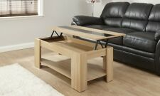 Lift Up Top Coffee Table Oak Black Gloss Storage & Shelf Modern Occasional