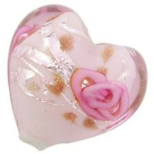 4 Pieces Lampwork Heart Glass Beads - 20mm - A4186