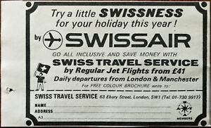 Swiss travel Service Swissair, Try A Little Swissness Vintage Advertisement 1969
