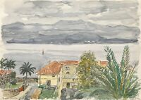 Karl Adser 1912-1995 Ajaccio Corsica View over Houses on Mediterranean and Berge