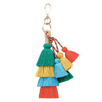 Vintage Boho Key Chain Multilayer Tassel Pendant Women Bag Hanging OrnamentT7D7