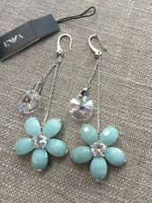 EMPORIO ARMANI Sterling Silver Amazonite & CZ Earrings Blue Floral Drop $295 Wow
