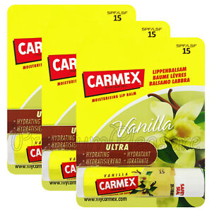 3 x Carmex Vanilla Lip balm Flavored SPF15 Moisturising Dry lips Click stick US
