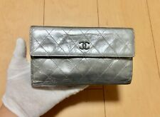 CHANEL Authentic CC Logos Quilted Long  Wallet Purse  Leather