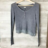 Hollister Womens lace trim button neck knit long sleeve gray sweater size: xs