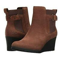 UGG Waterproof Wedge Heel Indra Ankle Boots Booties Brown Leather Women's size 9