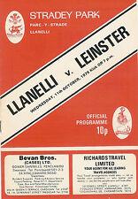 LLANELLI v LEINSTER 11 Oct 1978 RUGBY PROGRAMME