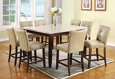 Dining Table Set Counter Height Beau White Marble Top Walnut Finish 9 pieces