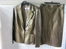 Max Mara Metallic Leather Suit Blazer Jacket Skirt-Bronze - Size 12 -Excellent!