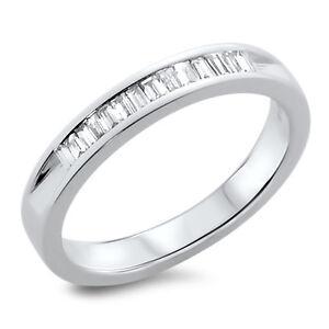 VS 0.27ct Baguette Cut Diamonds Channel Set Half Eternity Ring,18k White Gold