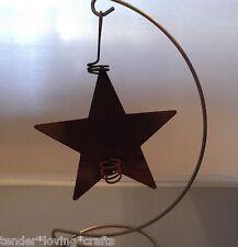 "PRIMITIVE RUSTY TIN STAR CANDLE HOLDER 4 3/4""~ CRAFTS,MINIATURES"