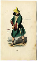 C. 1850, Antique wood engraving in contemp. coloring, an Ainu.