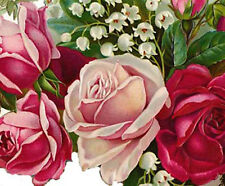 VinTaGe ImaGe Xl PinK & ReD RoSe BouQueT ShaBby WaTerSliDe DeCals FuRniTuRe SiZe