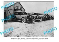 OLD LARGE PHOTO HUGHENDEN QUEENSLAND HUNTERS MOTOR GARAGE c1930