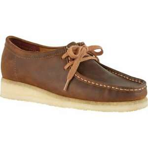 Womens Clarks Wallabee Beeswax Brown Leather Shoes Boots 261 34197