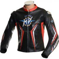 Rosso & Nero Mv Agusta Sport Wsb Track pro Ce Moto in pelle Motociclista Giacca