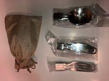 Camping Folding Dinnerware Set Fork Knife Spoon and Burlap Carry Bag Ultralight
