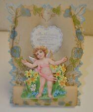 """Antique Valentine Card Victorian 8.5"""" x 6"""" C1890 Pop Up 3D & Stand Angels Cherub"""