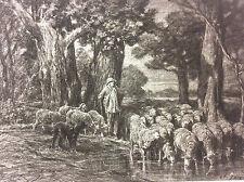 Moutons à l'abreuvoir Barbizon Charles Emile JACQUE 1813-1894 Hélio G Petit