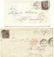 2427 1866/7 QV 6 D (Pl. 5 and 6) deep lilac each as single postage VF to HAMBURG