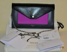 Authentic New Women's CELINE Pocket Flap Chain Shoulder Leather Purse