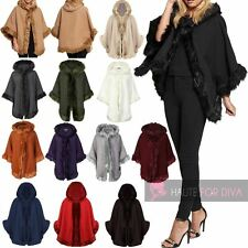 NEW WOMEN'S WINTER COAT PONCHO FAUX FUR LINING HOODED ¾ SLEEVE WOOL CAPE