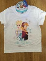 BNWT Girls Disney Frozen Elsa Anna White Summer T shirt age 3-4 yrs 100% cotton