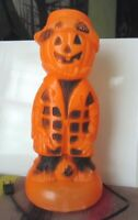 Vintage HALLOWEEN Orange & Black Blow Mold Light Hobo Pumpkin Man. Works Great!