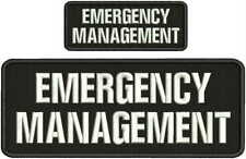 emergency management embroidery patch 4x10 & 2x5 hook on back blk/white