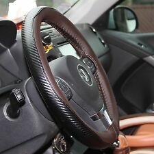 Brown & CF Style PVC Leather DIY Steering Wheel Cover Wrap Needle & Thread 47023