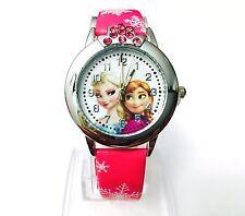 New Girls Kids Children Party Gift frozen Elsa Anna Wrist Watch Deep Pink
