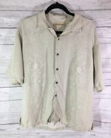 Tommy Bahama Mens Short Sleeve Button Up Size L Floral Hawaiian Taupe 100% Silk