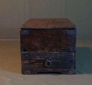 Rare Korean Joseon Dynasty 18 ~ 19th Century Small Wood Travel Box