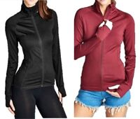 New Women's Solid Active Long Sleeve Zip-Up Track Thin Jacket (USA SELLER)